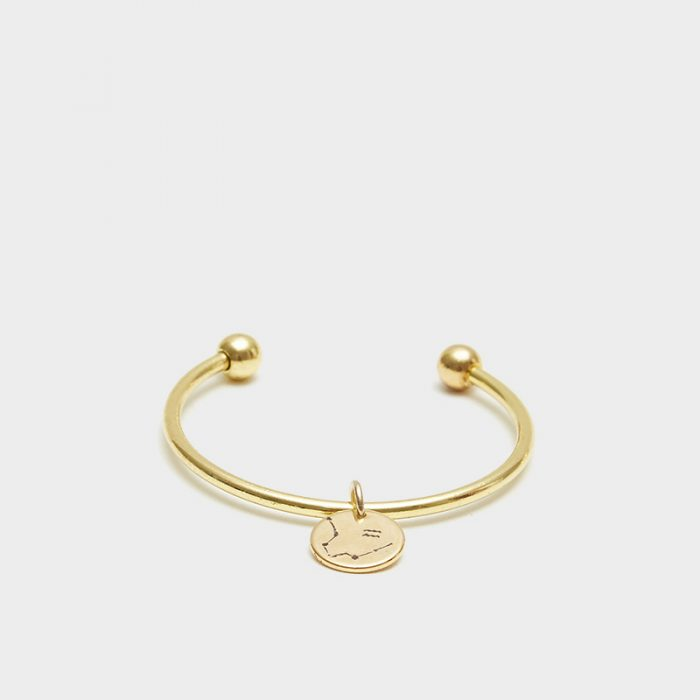 Gold Barbell Cuff front
