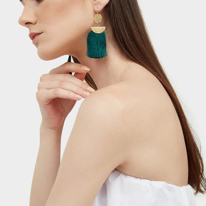 Model tassel earrings 2