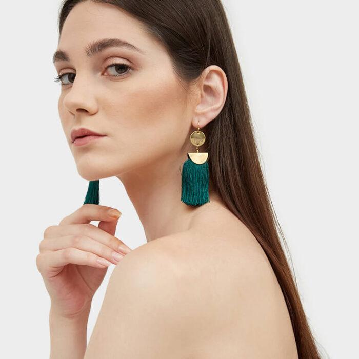 Model tassel earrings